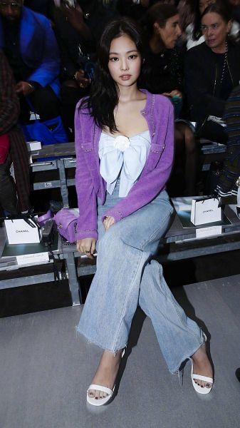 Tags: K-Pop, Black Pink, Jennie Kim, Crossed Legs, Sitting On Bench, Purple Jacket, Denim Skirt, Shoes, Purple Outerwear, Bench, High Heels, White Footwear