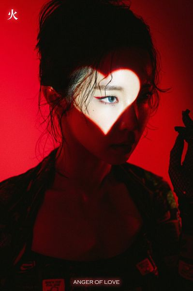 Tags: K-Pop, 4Minute, Jenyer, Black Gloves, Hair Up, Red Lips, English Text, Blue Eyes, Red Background, Gloves, Dark Background, Black Jacket