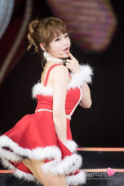 Tags: K-Pop, T-ara, Jeon Boram, Cosplay, Christmas Outfit, Red Dress, Choker, Finger To Lips, Detached Sleeves, Red Outfit, Hair Up, Christmas
