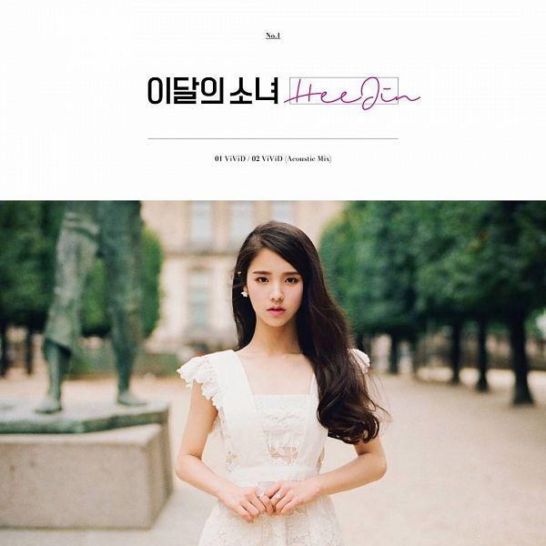 Tags: K-Pop, LOOΠΔ, ViVid, Jeon Heejin, Sleeveless, White Outfit, Sleeveless Dress, English Text, Text: Artist Name, Text: Song Title, Text: Album Name, Korean Text