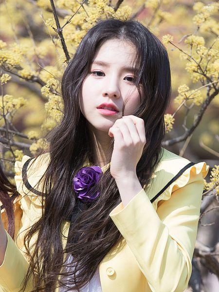 Tags: K-Pop, LOOΠΔ, Jeon Heejin, Close Up, Looking Away, Wavy Hair, Yellow Outerwear