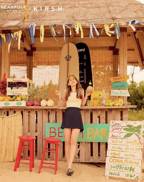 Tags: K-Pop, Jeon Somi, Striped, English Text, Bare Shoulders, Skirt, Sandals, Sleeveless Shirt, Stool, Pineapple, Chair, Eyes Closed