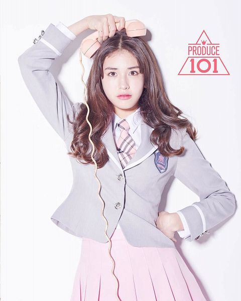 Tags: Television Show, K-Pop, Jeon Somi, Pink Neckwear, Pleated Skirt, White Background, Gray Jacket, Hand On Hip, Gray Outerwear, Pink Skirt, Tie, Checkered Neckwear