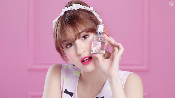 Tags: K-Pop, I.O.I, Jeon Somi, Bottle, Hair Up, Perfume Bottle, Ponytail, Pink Background, Etude House
