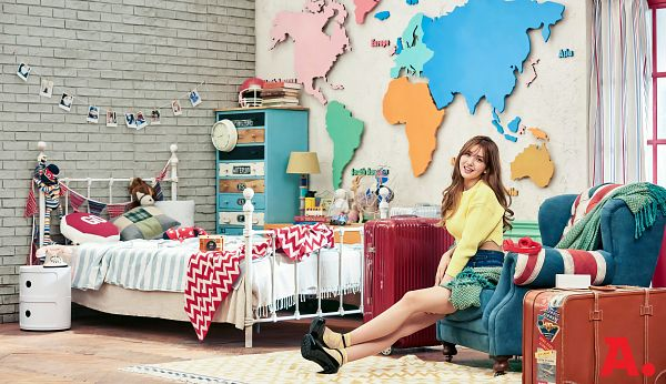 Tags: JYP Entertainment, K-Pop, I.O.I, Jeon Somi, Chair, Phone, Electric Fan, Sitting On Chair, Blue Shorts, Table, Yellow Shirt, Helmet