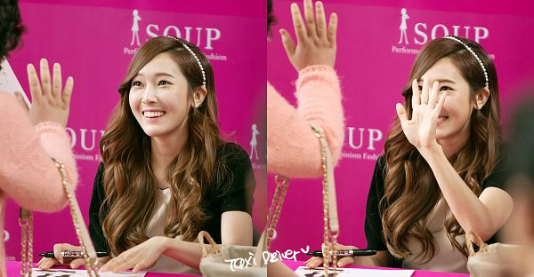 Tags: Girls' Generation, Jessica Jung, White Outfit, Wavy Hair, Black Jacket, Wave, Looking At Another, White Dress, Soup