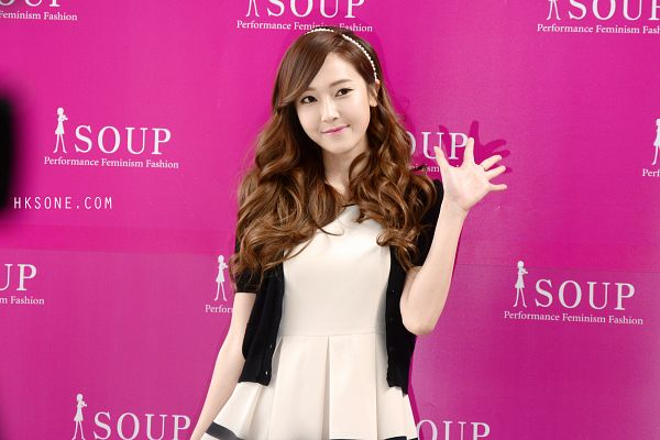 Tags: Girls' Generation, Jessica Jung, White Outfit, Wavy Hair, Black Jacket, Wave, White Dress, Looking Away, Soup, Wallpaper