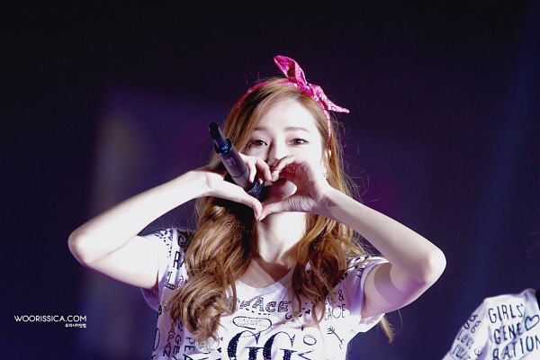 Tags: K-Pop, Girls' Generation, Jessica Jung, Bow, Pink Bow, Heart Gesture, Hair Bow, Wallpaper, Girls' Generation Japan Tour