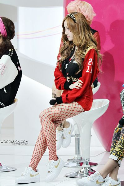Tags: K-Pop, Girls' Generation, Jessica Jung, Shorts, Red Shorts, Sneakers, White Footwear, Fishnets, Hairband, Red Outfit, Shoes, Android/iPhone Wallpaper