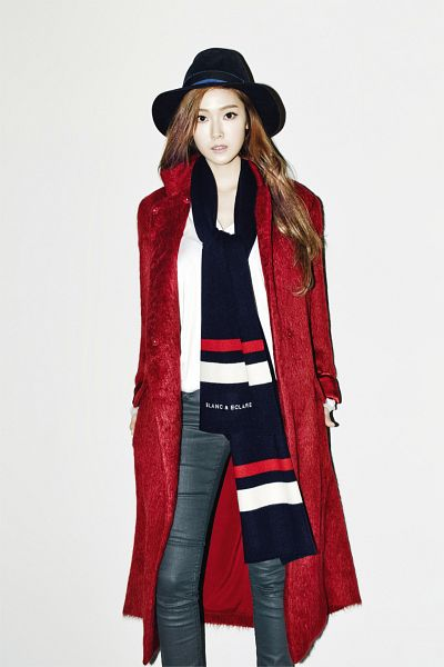 Tags: K-Pop, Girls' Generation, Jessica Jung, Hat, Light Background, White Background, Red Jacket, Scarf, Jeans, Android/iPhone Wallpaper, Blanc & Eclare