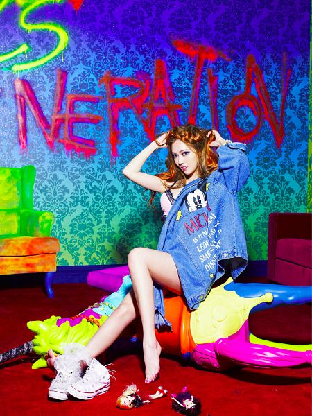 Tags: K-Pop, Girls' Generation, I Got A Boy, Jessica Jung, Lingerie, Arms Up, Hand In Hair, Text: Artist Name, Bra, Blue Background, Barefoot, White Footwear
