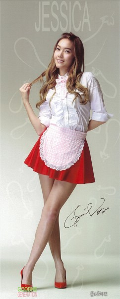 Tags: K-Pop, Girls' Generation, Jessica Jung, Skirt, Bare Legs, Red Skirt, Apron, Pink Bow, Hand In Hair, Text: Artist Name, Red Footwear, Signature
