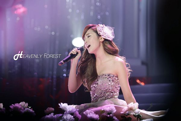 Tags: K-Pop, Girls' Generation, Jessica Jung, Sleeveless Dress, Sleeveless, Pink Outfit, Wavy Hair, Hair Ornament, Pink Dress, Bare Shoulders, Eyes Closed, Heavenly Forest
