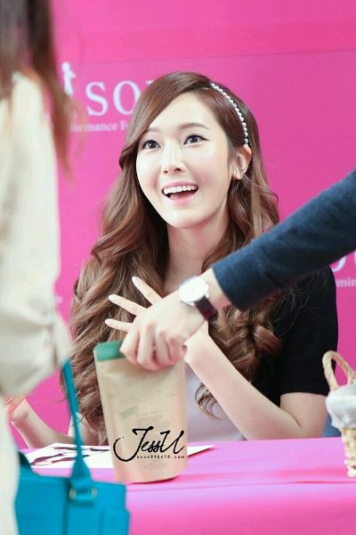 Tags: K-Pop, Girls' Generation, Jessica Jung, White Headwear, Wavy Hair, Black Outerwear, White Outfit, Hairband, Black Jacket, Looking Ahead, White Dress, Pink Background