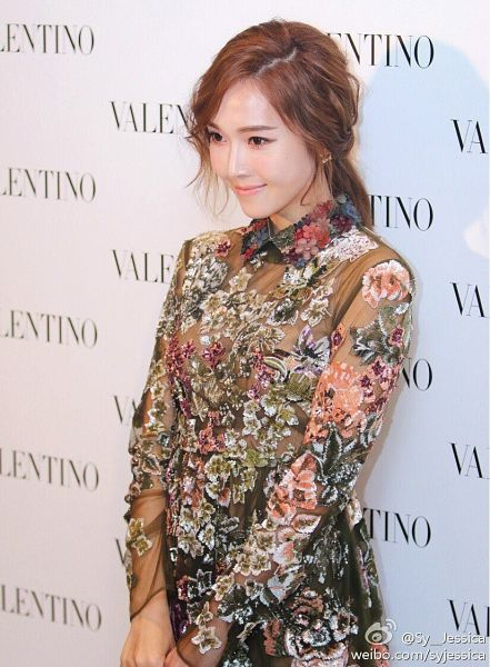 Tags: K-Pop, Jessica Jung, Floral Print, Light Background, Floral Dress, White Background, Looking Ahead, Black Dress, Black Outfit, Valentino