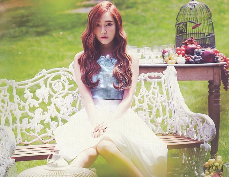 Tags: K-Pop, Jessica Jung, Bare Legs, Wavy Hair, Sitting On Bench, White Skirt, Fruits, Skirt, Checkered Shirt, Blue Shirt, Wine Glass, Bench