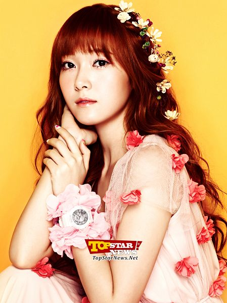 Tags: K-Pop, Girls' Generation, Jessica Jung, Pink Outfit, Hand In Hair, Flower, Short Sleeves, Hair Ornament, Hair Flower, Watch, Wavy Hair, Hand On Arm