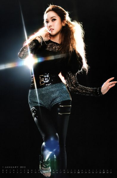 Tags: K-Pop, Girls' Generation, Jessica Jung, Dark Background, Shorts, Gray Shorts, Black Background, Leather Pants, High Heels, Hand On Neck, Standing On One Leg, Black Pants