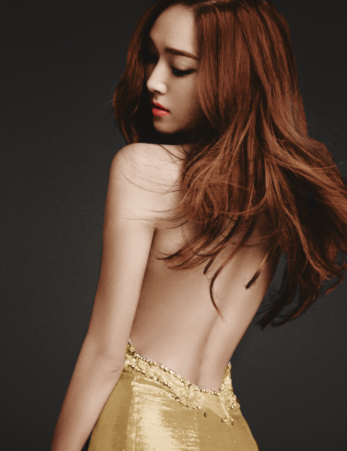 Tags: K-Pop, Girls' Generation, Jessica Jung, Bare Back, Closed Mouth, Yellow Dress, Blanc & Eclare