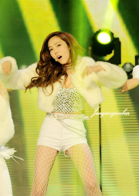 Tags: K-Pop, Girls' Generation, I Got A Boy, Jessica Jung, Bare Legs, Suggestive, Pantyhose, Fishnets, White Outerwear, White Shorts, White Outfit, Silver Shirt