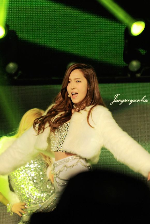 Tags: K-Pop, Girls' Generation, I Got A Boy, Jessica Jung, White Jacket, Wavy Hair, Shorts, White Outfit, Belt, From Below, Midriff, White Outerwear
