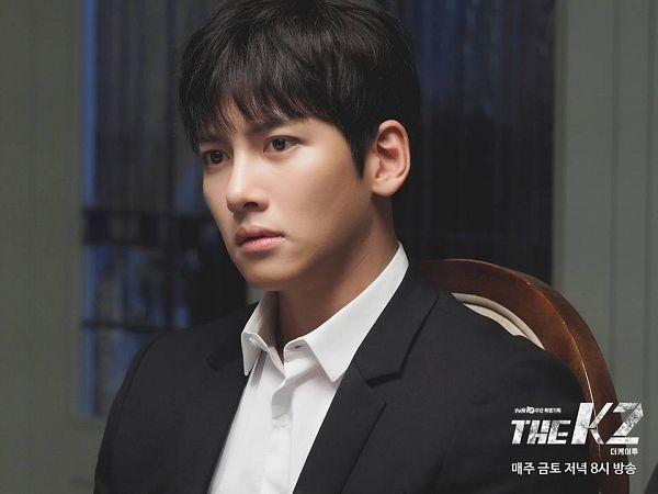 Tags: K-Drama, Ji Chang-wook, Looking Ahead, Black Jacket, Text: Series Name, Sitting On Chair, Black Outerwear, Chair