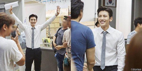 Tags: Glorious Entertainment, K-Drama, Ji Chang-wook, Collage, Tie, Text: Company Name, Black Pants
