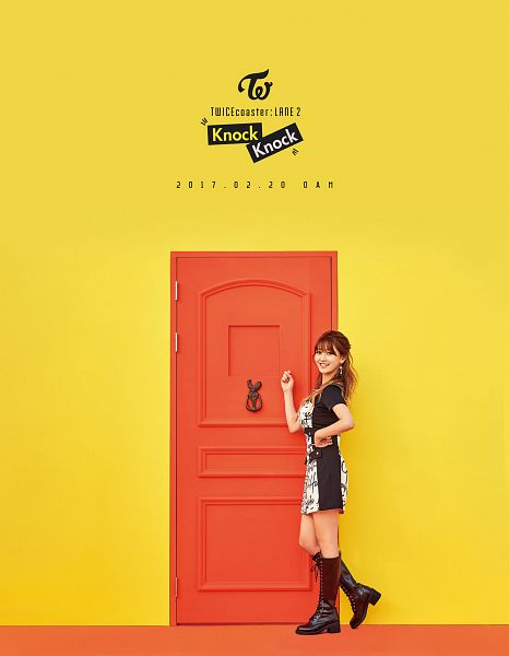 Tags: JYP Entertainment, K-Pop, Twice, Jihyo, Yellow Background, Text: Calendar Date, Text: Song Title, Text: Artist Name, Door, Android/iPhone Wallpaper, Twicecoaster: Lane 2