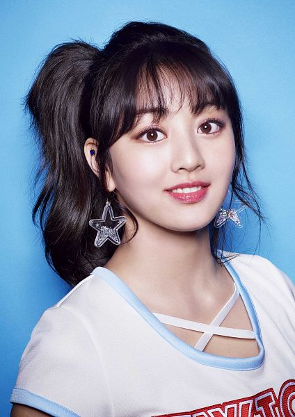 Tags: J-Pop, K-Pop, JYP Entertainment, Twice, Jihyo, Simple Background, Hair Up, Bangs, Short Sleeves, Close Up, Multi-colored Shirt, Jewelry