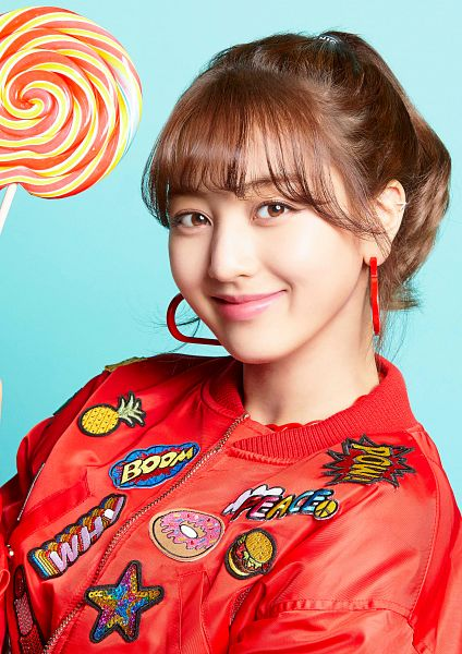 Tags: JYP Entertainment, K-Pop, Twice, Candy Pop, Jihyo, Candy, Hair Up, Red Jacket, Close Up, Blue Background, Blunt Bangs, Red Outerwear