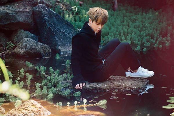 Tags: K-Pop, BTS, Jin, Lake, Black Eyes, White Footwear, Water, Black Pants, Looking Down, The Most Beautiful Moment in Life pt.2