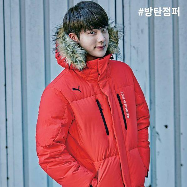 Tags: K-Pop, BTS, Jin, Fur Trim, Red Outerwear, Hand In Pocket, Coat, Black Eyes, Fur, Puma