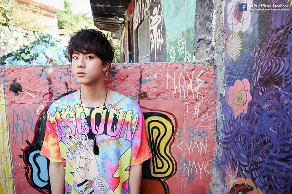 Tags: K-Pop, BTS, Jin, Graffiti, Wall, Leaning On Wall, Necklace, Black Eyes