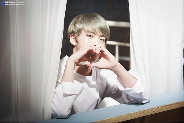 Tags: K-Pop, BTS, Jin, Curtain, Window, Gray Hair, Heart Gesture, Black Eyes, 2016 BTS Festa