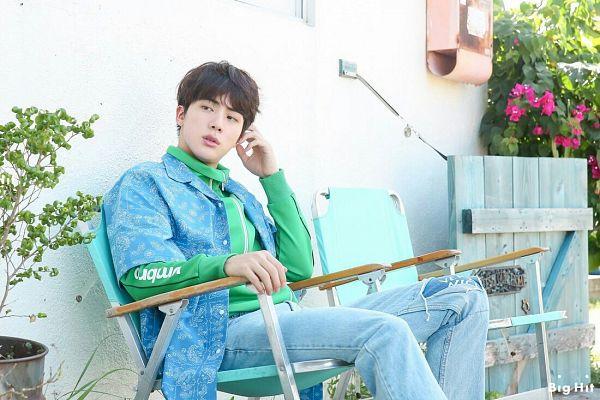 Tags: K-Pop, BTS, Jin, Green Shirt, Chair, Serious, Black Eyes, Blue Pants, Looking Away, Scan, BTS 2018 Season's Greetings