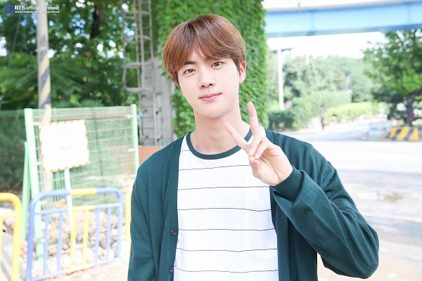 Tags: K-Pop, BTS, Jin, Striped, Striped Shirt, V Gesture, Green Shirt, Facebook