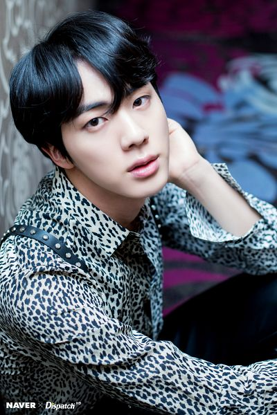 Tags: K-Pop, BTS, Jin, Collar (Clothes), Sitting On Ground, Indoors, Suspenders, Black Pants, Animal Print, Leopard Print, Dispatch