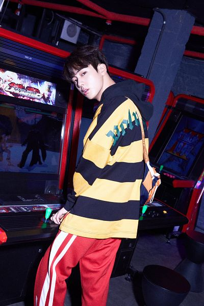 Tags: K-Pop, BTS, Jin, Bag, Videogames, Hoodie, Striped, Black Eyes, Arcade, Red Pants, Indoors, Dark Background