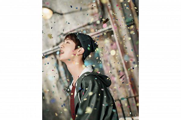 Tags: K-Pop, BTS, Jin, Striped, Hood, Close Up, White Border, Side View, Black Headwear, Hat, Confetti, Striped Shirt