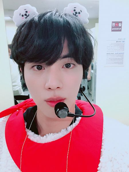 Tags: K-Pop, Bangtan Boys, Jin, Microphone, Hairband, Indoors, Closed Mouth, Red Neckwear, Close Up, Costume, Necklace, Black Eyes