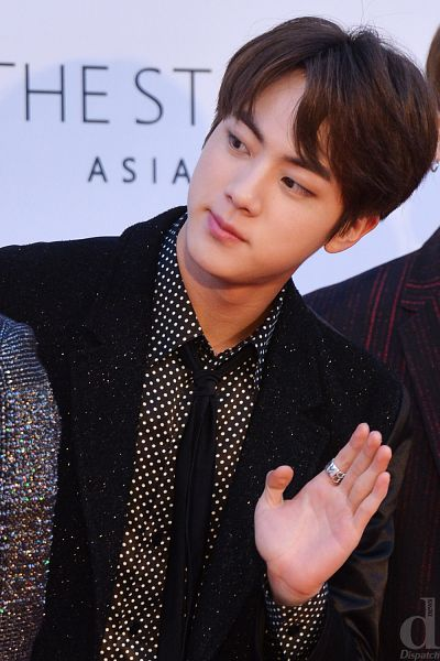 Tags: K-Pop, BTS, Jin, Ring, Wave, Black Neckwear, Black Jacket, Tie, Close Up, Spotted, Collar (Clothes), English Text