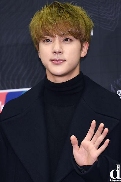 Tags: K-Pop, BTS, Jin, Black Outfit, Black Outerwear, Collar (Clothes), English Text, Turtleneck, Black Eyes, Coat, Wave, Looking Ahead