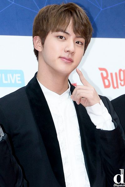 Tags: K-Pop, BTS, Jin, Finger To Cheek, Black Jacket, Close Up, Black Eyes, English Text, Black Outerwear, Dispatch