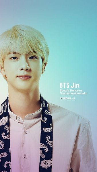 Tags: K-Pop, BTS, Jin, English Text, Black Eyes, Light Background, Gradient Background, Blonde Hair, Text: Artist Name, Close Up, Android/iPhone Wallpaper, I·SEOUL·U