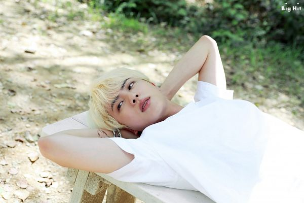 Tags: K-Pop, BTS, Jin, Black Eyes, Bracelet, Bench, Arms Up, English Text, Laying On Back, Short Sleeves, Laying Down, Text: Company Name