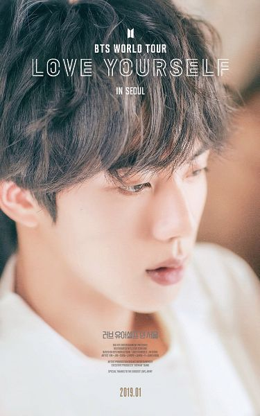Tags: K-Pop, BTS, Jin, English Text, Looking Down, Text: Artist Name, Serious, Scan, BTS World Tour: Love Yourself, Poster