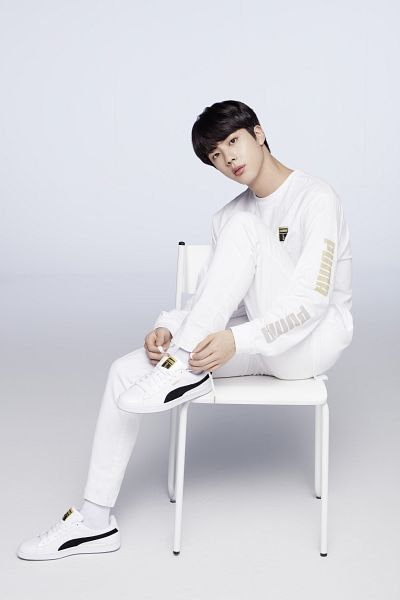 Tags: K-Pop, BTS, Jin, Sneakers, White Pants, Sitting On Chair, Black Eyes, Shoes, Chair, Puma
