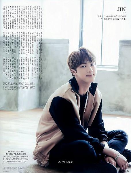 Tags: K-Pop, BTS, Jin, Black Pants, Bracelet, Brown Outerwear, Black Shirt, Japanese Text, Anan Magazine, Magazine Scan