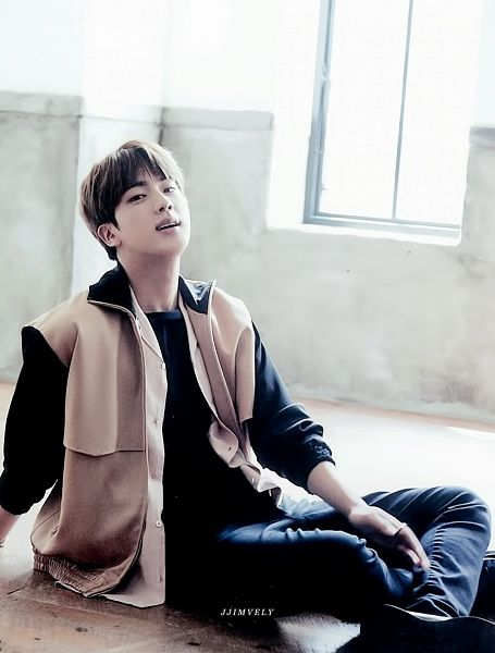 Tags: K-Pop, BTS, Jin, Black Pants, Brown Outerwear, Black Shirt, Sitting On Ground, Window, Anan Magazine, Magazine Scan
