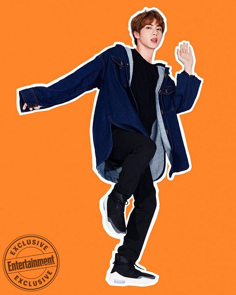 Tags: K-Pop, BTS, Jin, Black Pants, Blue Outerwear, English Text, Leg Up, Black Shirt, Orange Background, Standing On One Leg, Magazine Scan, Entertainment Weekly